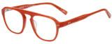 Profile View of Eyebobs On the Nose Designer Bi-Focal Prescription Rx Eyeglasses in Pink Red Grapefruit Crystal Unisex Square Full Rim Acetate 50 mm