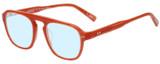 Profile View of Eyebobs On the Nose Designer Progressive Lens Blue Light Blocking Eyeglasses in Pink Red Grapefruit Crystal Unisex Square Full Rim Acetate 50 mm