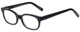 Profile View of Eyebobs Over Served Designer Reading Eye Glasses with Custom Cut Powered Lenses in Gloss Black Unisex Round Full Rim Acetate 51 mm