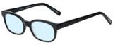 Profile View of Eyebobs Over Served Designer Progressive Lens Blue Light Blocking Eyeglasses in Gloss Black Unisex Round Full Rim Acetate 51 mm