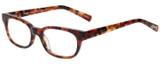 Profile View of Eyebobs Over Served Designer Single Vision Prescription Rx Eyeglasses in Dark Tortoise Havana Brown Gold Crystal Unisex Round Full Rim Acetate 51 mm