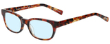 Profile View of Eyebobs Over Served Designer Blue Light Blocking Eyeglasses in Dark Tortoise Havana Brown Gold Crystal Unisex Round Full Rim Acetate 51 mm