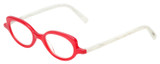 Profile View of Eyebobs Peep Show Designer Reading Eye Glasses with Custom Cut Powered Lenses in Red Crystal White Marble Ladies Cateye Full Rim Acetate 46 mm