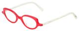 Profile View of Eyebobs Peep Show Designer Bi-Focal Prescription Rx Eyeglasses in Red Crystal White Marble Ladies Cateye Full Rim Acetate 46 mm