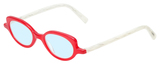 Profile View of Eyebobs Peep Show Designer Blue Light Blocking Eyeglasses in Red Crystal White Marble Ladies Cateye Full Rim Acetate 46 mm