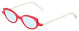 Profile View of Eyebobs Peep Show Designer Progressive Lens Blue Light Blocking Eyeglasses in Red Crystal White Marble Ladies Cateye Full Rim Acetate 46 mm