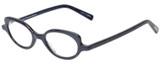 Profile View of Eyebobs Peep Show Designer Reading Eye Glasses with Custom Cut Powered Lenses in Deep Purple Blue Marble Ladies Cateye Full Rim Acetate 46 mm