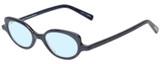 Profile View of Eyebobs Peep Show Designer Progressive Lens Blue Light Blocking Eyeglasses in Deep Purple Blue Marble Ladies Cateye Full Rim Acetate 46 mm