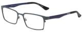 Profile View of Eyebobs Protractor Designer Reading Glasses Gun Metal Black Matte Navy Blue 54mm