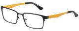 Profile View of Eyebobs Protractor Designer Reading Glasses Gun Metal Black Mustard Yellow 54 mm