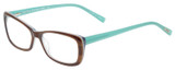 Profile View of Eyebobs Purrfect Designer Single Vision Prescription Rx Eyeglasses in Tortoise Havana Brown Gold Marble Aqua Blue Ladies Cateye Full Rim Acetate 54 mm