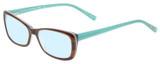 Profile View of Eyebobs Purrfect Designer Blue Light Blocking Eyeglasses in Tortoise Havana Brown Gold Marble Aqua Blue Ladies Cateye Full Rim Acetate 54 mm