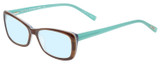 Profile View of Eyebobs Purrfect Designer Progressive Lens Blue Light Blocking Eyeglasses in Tortoise Havana Brown Gold Marble Aqua Blue Ladies Cateye Full Rim Acetate 54 mm