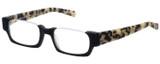 Profile View of Eyebobs Snippy Designer Reading Eye Glasses with Custom Cut Powered Lenses in Matte Black Leopard Grey Tortoise Havana Unisex Rectangle Semi-Rimless Acetate 48 mm