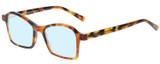 Profile View of Eyebobs Sparkler Designer Blue Light Blocking Eyeglasses in Light Tortoise Havana Brown Gold Crystal Ladies Square Full Rim Acetate 49 mm