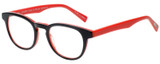 Profile View of Eyebobs Take A Stand Designer Reading Eye Glasses with Custom Cut Powered Lenses in Black Layer Red Ladies Cateye Full Rim Acetate 47 mm