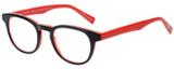 Profile View of Eyebobs Take A Stand Designer Bi-Focal Prescription Rx Eyeglasses in Black Layer Red Ladies Cateye Full Rim Acetate 47 mm