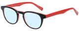 Profile View of Eyebobs Take A Stand Designer Progressive Lens Blue Light Blocking Eyeglasses in Black Layer Red Ladies Cateye Full Rim Acetate 47 mm