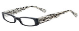 Profile View of Eyebobs Thick Eye Designer Reading Eye Glasses with Custom Cut Powered Lenses in Gloss Black Mosaic Crystal White Ladies Rectangle Full Rim Acetate 50 mm