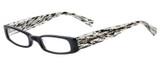 Profile View of Eyebobs Thick Eye Designer Single Vision Prescription Rx Eyeglasses in Gloss Black Mosaic Crystal White Ladies Rectangle Full Rim Acetate 50 mm