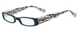 Profile View of Eyebobs Thick Eye Designer Blue Light Blocking Eyeglasses in Gloss Black Mosaic Crystal White Ladies Rectangle Full Rim Acetate 50 mm