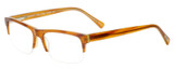 Profile View of Eyebobs Top Dog 1/2-Rimless Reading Glasses Light Brown Horn Marble Crystal 56mm