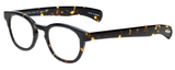 Profile View of Eyebobs Total Wit Round Reading Glasses Tortoise Havana Brown Gold Crystal 46 mm