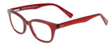 Profile View of Eyebobs Touche Designer Single Vision Prescription Rx Eyeglasses in Ruby Red Crystal Glitter Layer Burgundy Ladies Cateye Full Rim Acetate 48 mm