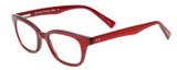 Profile View of Eyebobs Touche Designer Bi-Focal Prescription Rx Eyeglasses in Ruby Red Crystal Glitter Layer Burgundy Ladies Cateye Full Rim Acetate 48 mm