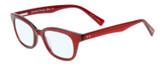 Profile View of Eyebobs Touche Designer Blue Light Blocking Eyeglasses in Ruby Red Crystal Glitter Layer Burgundy Ladies Cateye Full Rim Acetate 48 mm