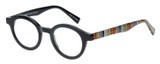 Profile View of Eyebobs TV Party Round Designer Reading Glasses Gloss Black Tribal Stripes 44 mm