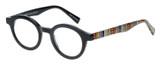 Profile View of Eyebobs TV Party Designer Reading Eye Glasses with Custom Cut Powered Lenses in Gloss Black Tribal Stripes Unisex Round Full Rim Acetate 44 mm