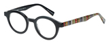 Profile View of Eyebobs TV Party Designer Progressive Lens Prescription Rx Eyeglasses in Gloss Black Tribal Stripes Unisex Round Full Rim Acetate 44 mm