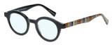Profile View of Eyebobs TV Party Designer Progressive Lens Blue Light Blocking Eyeglasses in Gloss Black Tribal Stripes Unisex Round Full Rim Acetate 44 mm