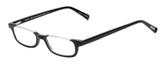 Profile View of Eyebobs What Inheritance Designer Reading Eye Glasses with Custom Cut Powered Lenses in Gloss Black Unisex Rectangle Semi-Rimless Acetate 47 mm