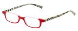 Profile View of Eyebobs What Inheritance Designer Single Vision Prescription Rx Eyeglasses in Red Zebra Stripe Black White Unisex Rectangle Semi-Rimless Acetate 47 mm