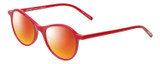 Profile View of Eyebobs Barbee Q Designer Polarized Sunglasses with Custom Cut Red Mirror Lenses in Gloss Red Ladies Cateye Full Rim Acetate 50 mm