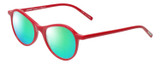 Profile View of Eyebobs Barbee Q Designer Polarized Reading Sunglasses with Custom Cut Powered Green Mirror Lenses in Gloss Red Ladies Cateye Full Rim Acetate 50 mm