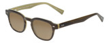 Profile View of Eyebobs Bench Mark Designer Polarized Sunglasses with Custom Cut Amber Brown Lenses in Brown Crystal Olive Green Ladies Cateye Full Rim Acetate 46 mm