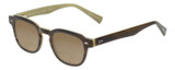 Profile View of Eyebobs Bench Mark Designer Polarized Reading Sunglasses with Custom Cut Powered Amber Brown Lenses in Brown Crystal Olive Green Ladies Cateye Full Rim Acetate 46 mm