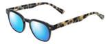 Profile View of Eyebobs Bench Mark Designer Polarized Sunglasses with Custom Cut Blue Mirror Lenses in Black Tan Brown Tortoise Havana Ladies Cateye Full Rim Acetate 46 mm