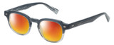Profile View of Eyebobs Bench Mark Designer Polarized Sunglasses with Custom Cut Red Mirror Lenses in Grey Fade Crystal Stripe Ladies Cateye Full Rim Acetate 46 mm
