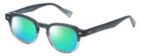 Profile View of Eyebobs Bench Mark Designer Polarized Reading Sunglasses with Custom Cut Powered Green Mirror Lenses in Grey Fade Crystal Stripe Ladies Cateye Full Rim Acetate 46 mm