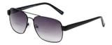 Profile View of Eyebobs Big Ball Aviator Sunglasses Gun Metal Black w/ Smoke Grey Gradient 56 mm