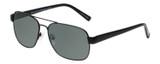 Profile View of Eyebobs Big Ball Designer Polarized Sunglasses with Custom Cut Smoke Grey Lenses in Gun Metal Black Unisex Aviator Full Rim Metal 56 mm