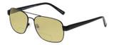 Profile View of Eyebobs Big Ball Designer Polarized Reading Sunglasses with Custom Cut Powered Sun Flower Yellow Lenses in Gun Metal Black Unisex Aviator Full Rim Metal 56 mm