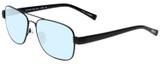 Profile View of Eyebobs Big Ball Designer Blue Light Blocking Eyeglasses in Gun Metal Black Unisex Aviator Full Rim Metal 56 mm