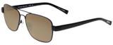 Profile View of Eyebobs Big Ball Designer Polarized Sunglasses with Custom Cut Amber Brown Lenses in Gun Metal Black Unisex Aviator Full Rim Metal 56 mm