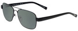Profile View of Eyebobs Big Ball Designer Polarized Reading Sunglasses with Custom Cut Powered Smoke Grey Lenses in Gun Metal Black Unisex Aviator Full Rim Metal 56 mm