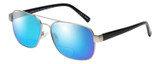 Profile View of Eyebobs Big Ball Designer Polarized Reading Sunglasses with Custom Cut Powered Blue Mirror Lenses in Gun Metal Silver Unisex Aviator Full Rim Metal 56 mm